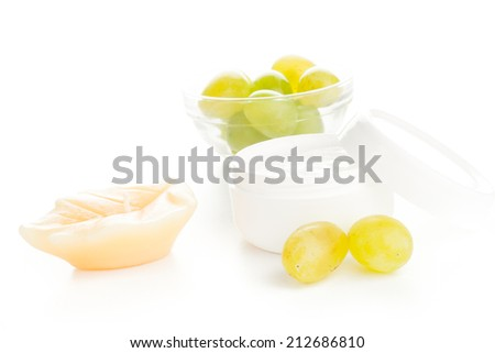 white moisturizer beauty healthy cream with green grapes - stock photo