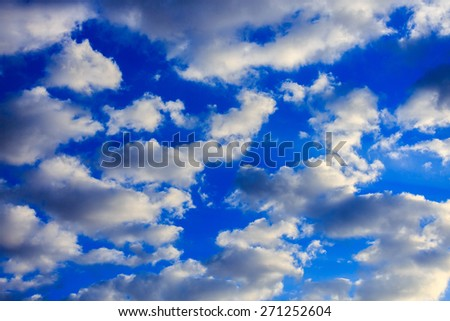 White morning clouds in blue sky - stock photo