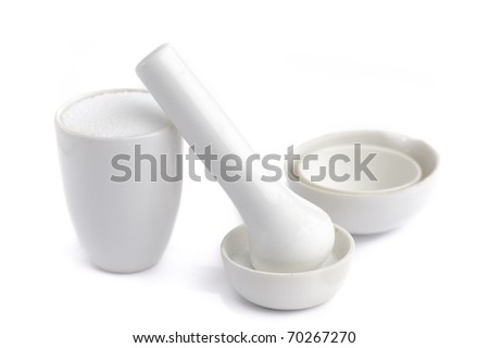 White mortar and pestle isolated on white