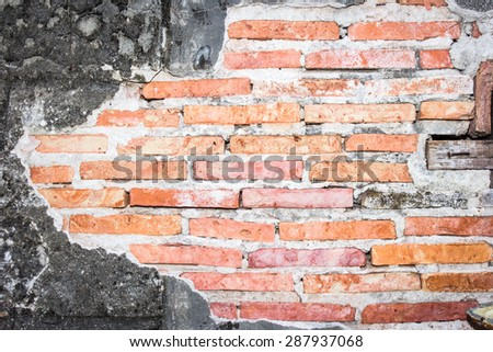 White mortar gray and Red brick wall texture - stock photo