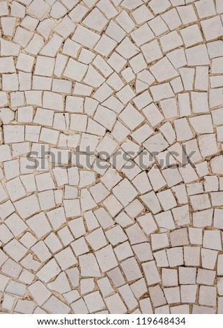 White Mosaic Tiles abstract background with Yellow tinted grout - stock photo