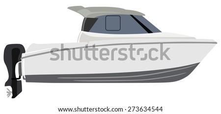 White motorboat on white background - stock photo