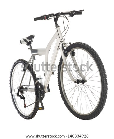 white mountain bike isolated on white - stock photo
