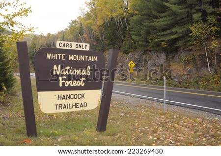 White Mountain National Forest road sign - stock photo