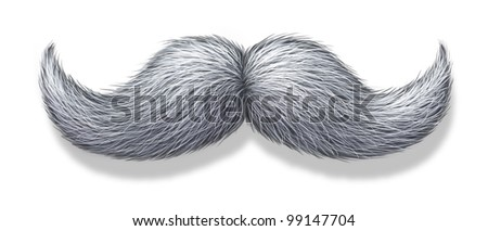 White moustache or grey hair mustache on a white background with a shadow as a symbol of masculinity for male grooming as the trimming of facial beard or body hair for the face of an elderly man. - stock photo