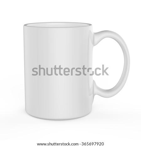 White mug template isolated on white background. - stock photo
