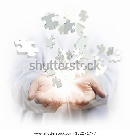 White multiple puzzle piece flying in different directions