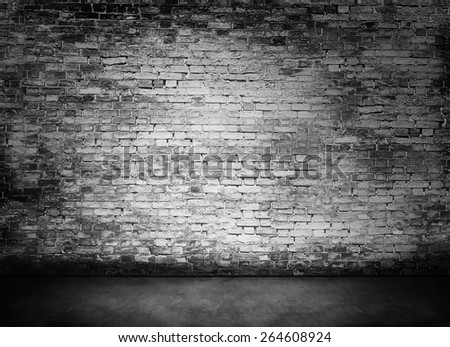 white murky brick wall texture with foreground - stock photo