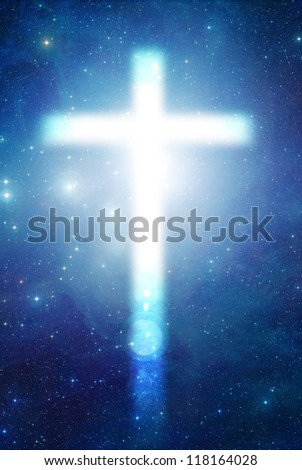 white mystical catholic cross in the space - stock photo