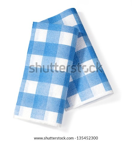 white napkin in the isolation of the blue square on a white background - stock photo