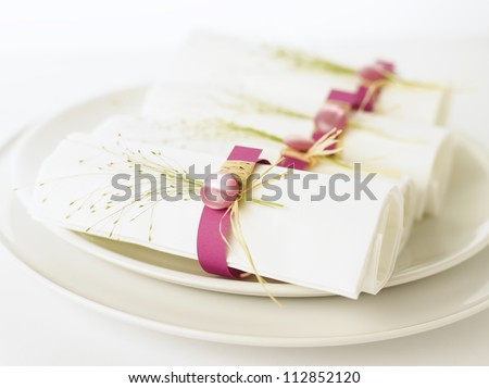 White napkins in pink napkin ring sitting on a plate. White background. Shallow DOF. - stock photo