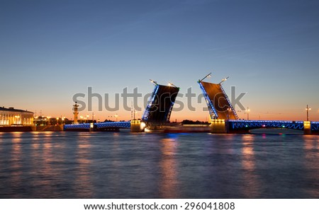 White nights in St. Petersburg. Divorced Palace bridge. Russia - stock photo