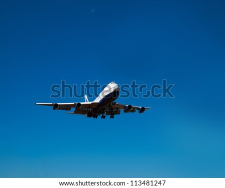 white nose of heavy jet in landing position