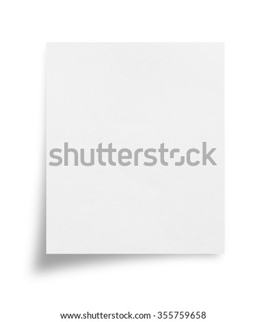 white note paper on white background with clipping path - stock photo