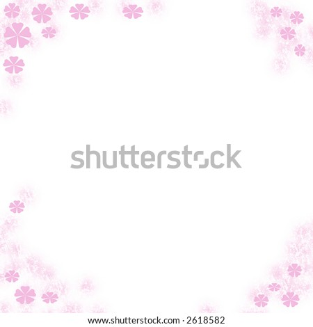 white note paper with  flower border card clip-art