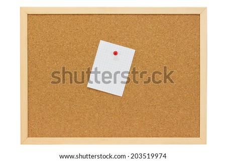 White note sheet with red pushpin on a pin board - isolated - stock photo