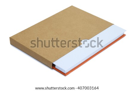 White notebook in brown paper case isolated on white background - stock photo
