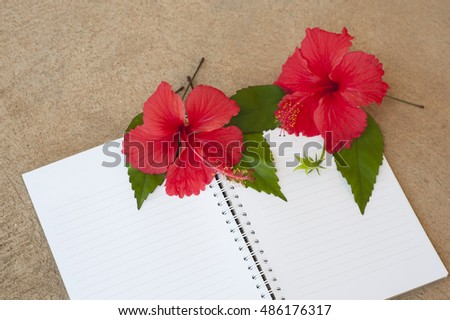 White Notebook with Red flowers with green foliage on cement background
