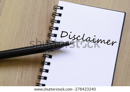 White notepad and ink pen on the wooden desk Disclaimer Concept Notepad - stock photo