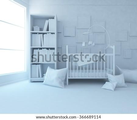 white nursery interior. 3d concept - stock photo