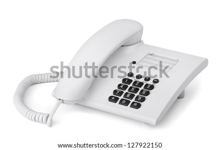 White office desk phone isolated on white - stock photo