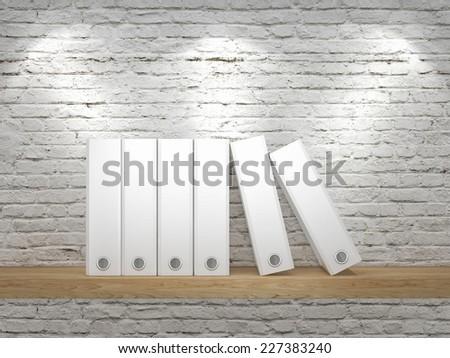 White office folder on white brick background - stock photo