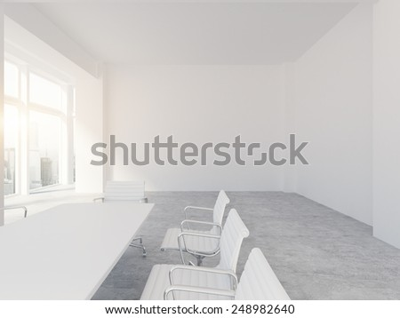 White office interior. 3d rendering - stock photo