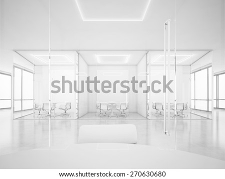 White office space with meeting rooms. 3D rendering - stock photo