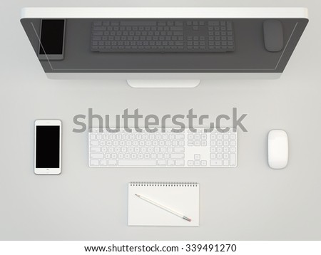 White Office table with computer ans smartphone, . View from above with copy space - stock photo
