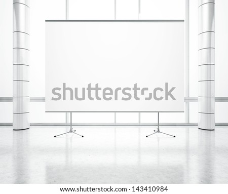 white office with blank flip chart - stock photo