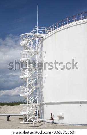 White oil reservoir. Oil and gas refinery plant. Gas station. Oil industry - stock photo