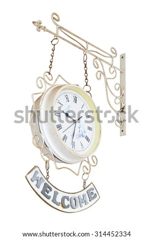 White old antique clock on white background with clipping path - stock photo