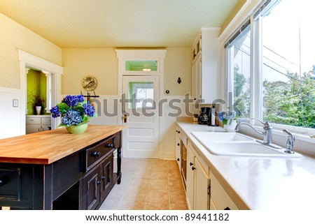 White old antique kitchen with blue flowers. - stock photo
