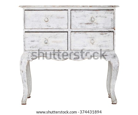 White old chest of drawers isolated on white background - stock photo