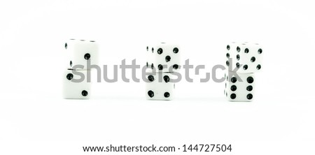 white old dice on a white background - button white casino dices