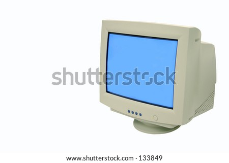 white old monitor - stock photo