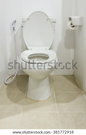 white old toilet  in home