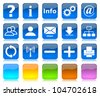 White on blue glossy internet icons series and five colors blank customizable buttons - stock photo