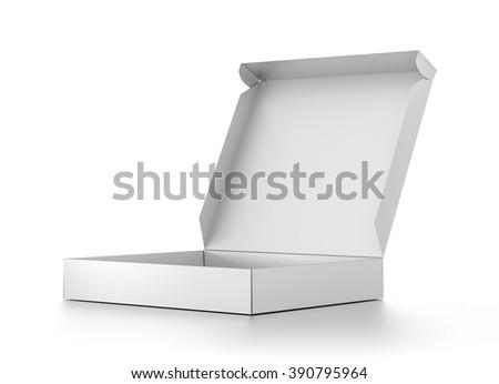 White open blank pizza box isolated on white background. - stock photo