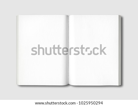 White open book isolated on a grey background