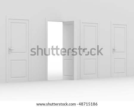 white open door. 3D image. home interior