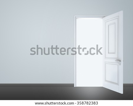 White Open Door with Frame Isolated on Background