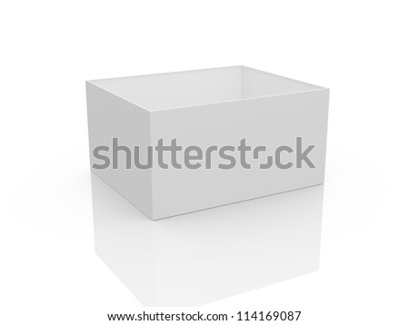 White, open, empty box template, isolated on white background.