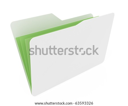 white open folder with green paper isolated on white background