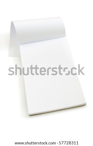 white open notebook isolated on white - stock photo