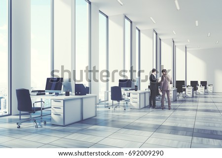 white open office environment narrow tall stock illustration