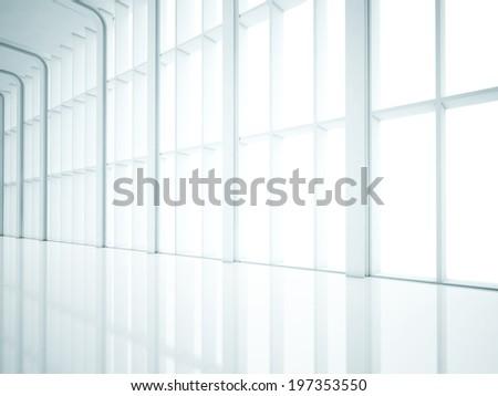 White open plan interior - stock photo