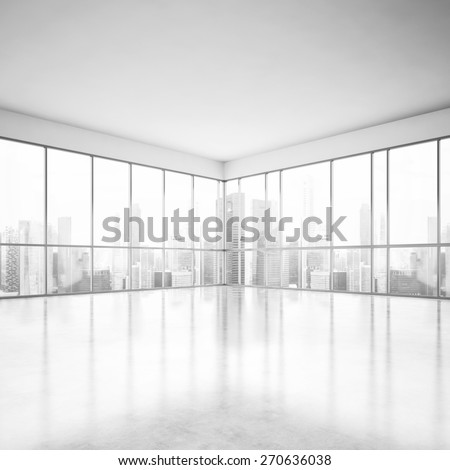 White open plan office. 3D rendering - stock photo