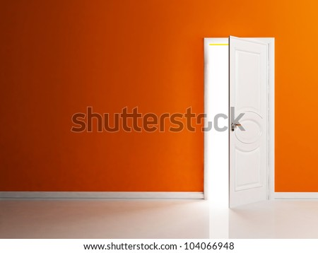 White opened door in the empty room, rendering - stock photo