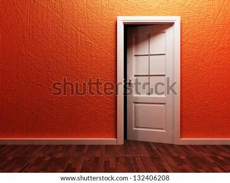 White opened door in the empty room, rendering - stock photo